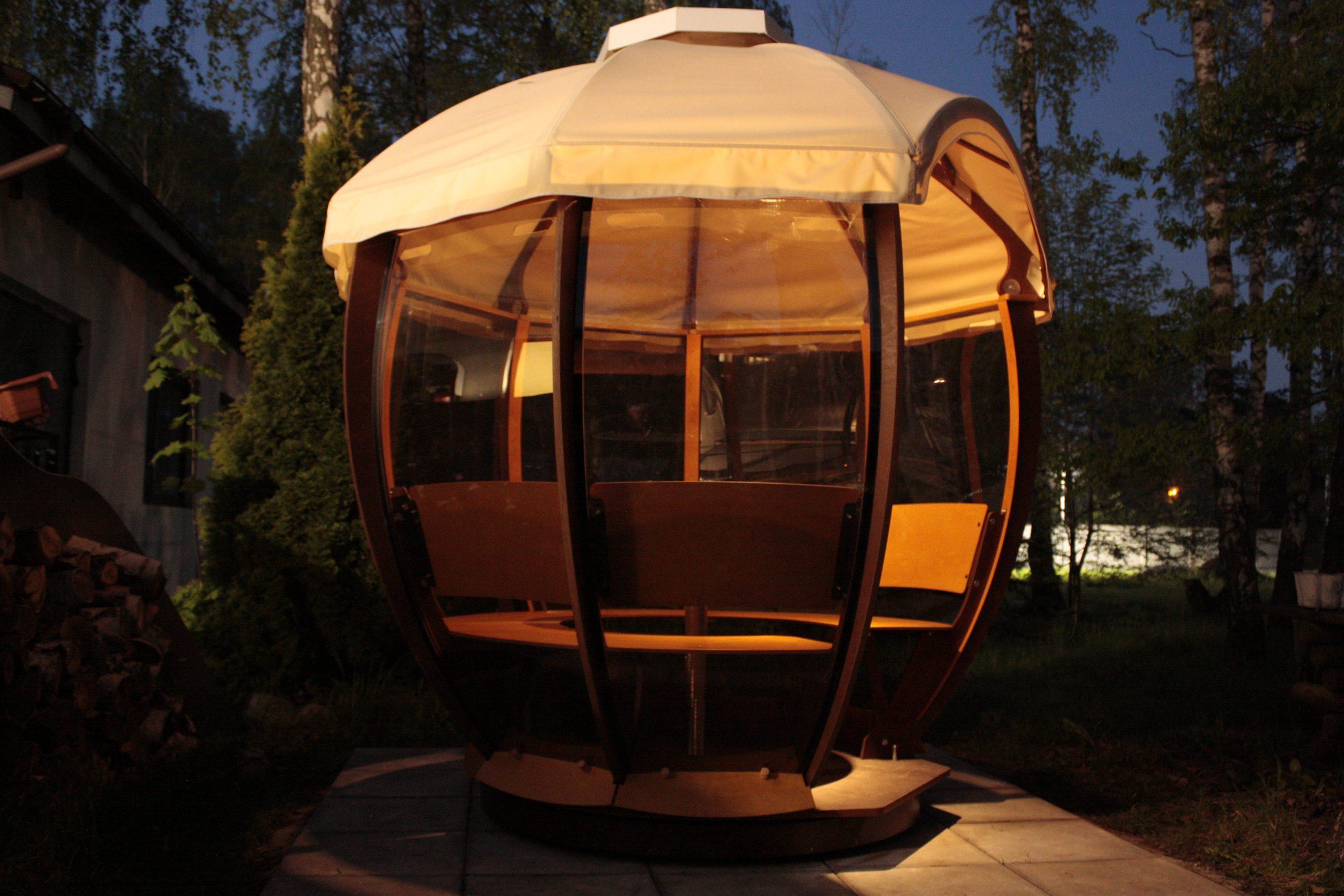 Altanka Cocoshell  oświetlenie z fotowoltaiką